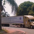 United Family International Ministries truck parked in front of Rainbow Towers in Harare.