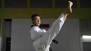Sister Linda Sim, 58, a Catholic nun who earned a black belt in taekwondo. -- ST PHOTO: DESMOND LIM